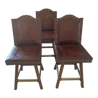 Leather Swivel Counter Stools- Set of 3 For Sale