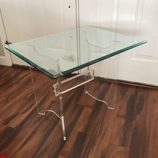 Mid-Century Lucite & Glass End Table - Image 2 of 6