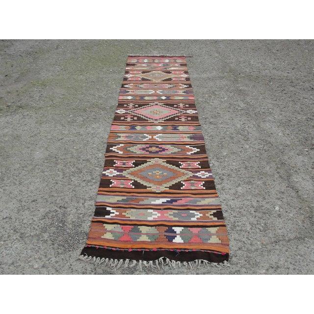 Vintage Turkish Kilim Rug - 2′8″ × 12′5″ - Image 2 of 11