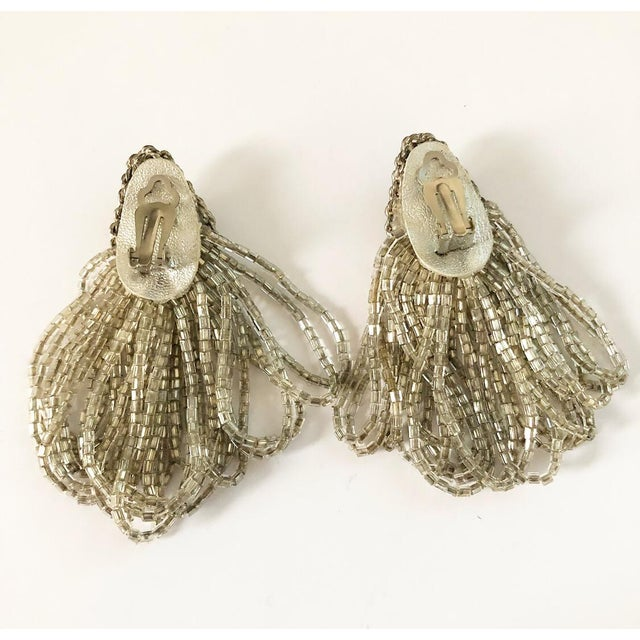 1970s 1970s Vintage Silver Beaded Rhinestone Clip on Earrings For Sale - Image 5 of 9