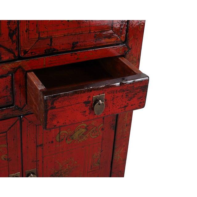 Vintage Oriental Red Graphic Storage Dresser Cabin - Image 3 of 5