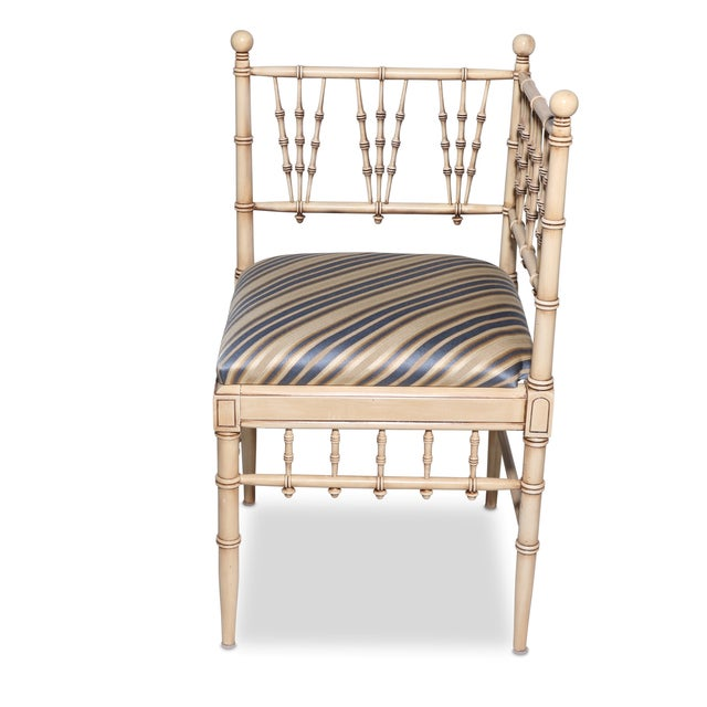 Vintage Faux Bamboo Corner Chair - Image 3 of 3