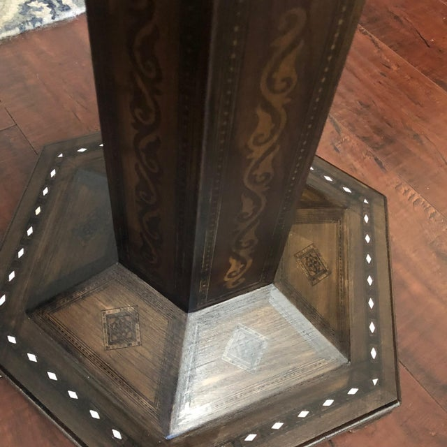 Brown 1980s Gothic Parquetry Candle Stands - a Pair For Sale - Image 8 of 9
