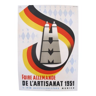 "1951 Original German Festival Poster, ""Foire Allemande De L'Artisanat"" in Munich For Sale"