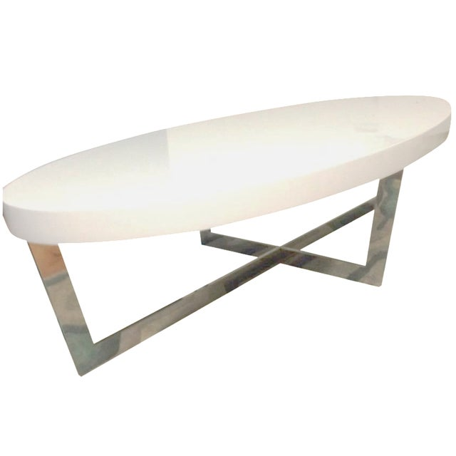 White Oval Oyster Coffee Table - Image 1 of 4