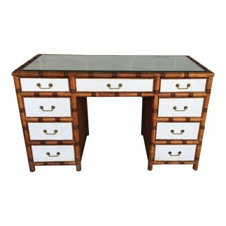 McGuire Furniture Bamboo-Wicker 9 Drawer Writing Desk For Sale