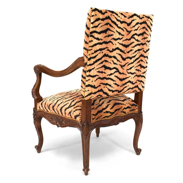 French French Regence Faux Tiger Arm Chair For Sale - Image 3 of 4
