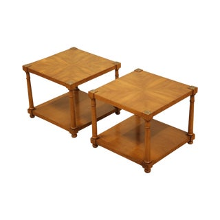 Henredon Vintage French Empire Style Walnut Pair Square Side Tables For Sale