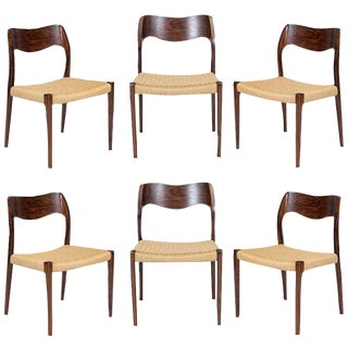 Set of Six Rosewood Niels Møller Model #71 Dining Chairs For Sale