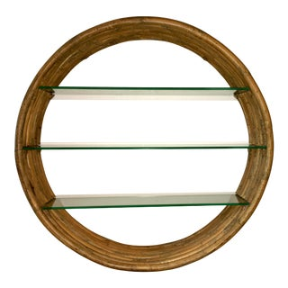 Mid Century Paul Frankl Large 7-Strand Bamboo Rattan Circular Wall Shelf Unit For Sale