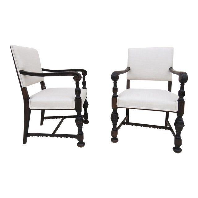 1930's Carved Wood Chairs - A Pair - Image 1 of 4