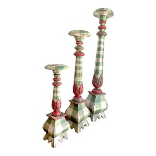 Late 20th Century Hand-Painted Candlesticks - Set of 3 For Sale