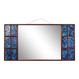 1950s Mid Century Modern Blue Art Glass Tiled Wall Mirror For Sale