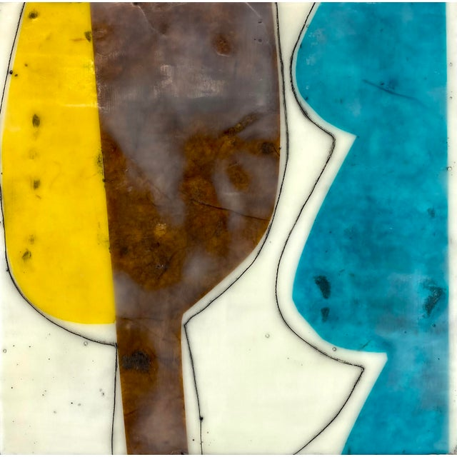 """Abstract """"Bodies in Motion"""" Encaustic Collage by Gina Cochran - 16 Piece Installation For Sale - Image 3 of 13"""