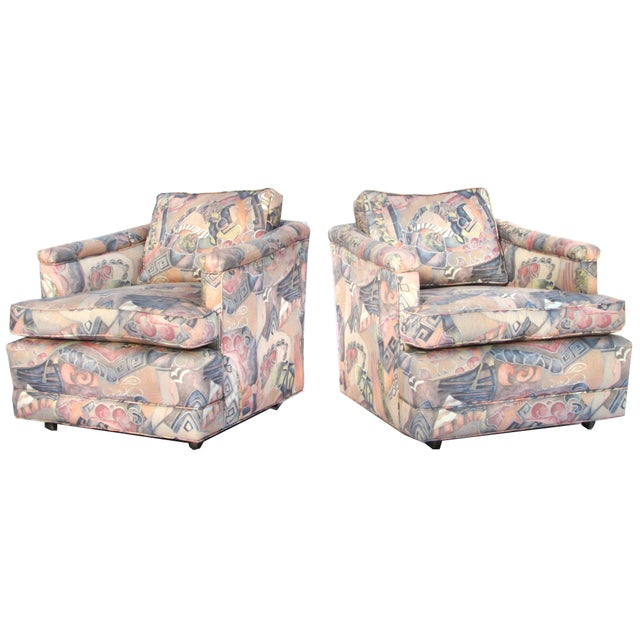 1960s Upholstered Club Chairs - A Pair - Image 2 of 5