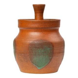 Rust Red Studio Pottery Jar With Lid For Sale