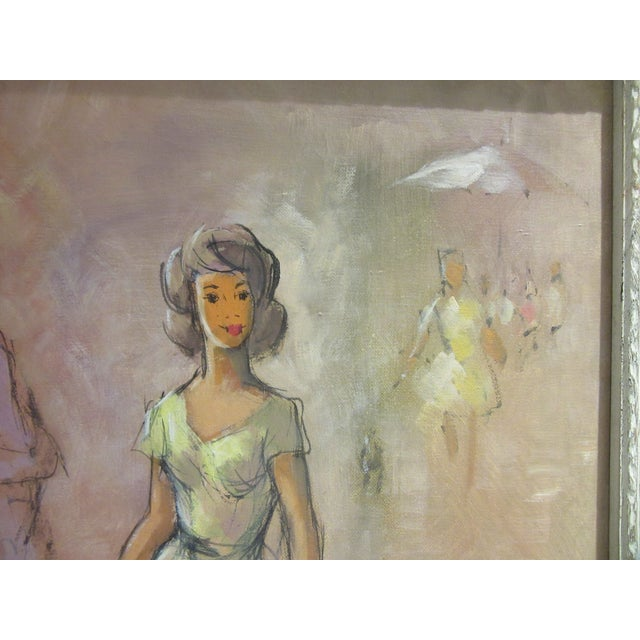 1960s Oil Painting of Fashion Paris Scene With Female Dressed in Yellow Dress For Sale - Image 4 of 8