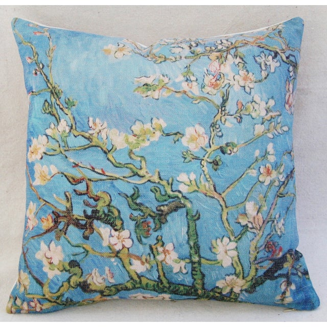 """Chic Van Gogh Inspired Cherry Blossom Linen Feather/Down Accent Pillow 17"""" - Image 6 of 6"""
