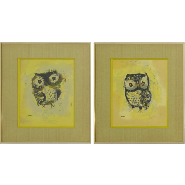 Mid-Century Owl Paintings - A Pair For Sale