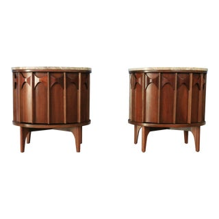 1960s Kent Coffey Marble Top Nightstands For Sale