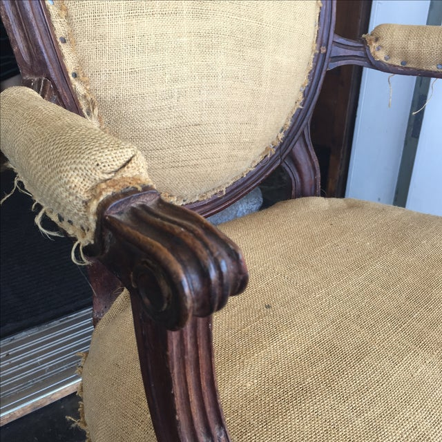 Antique Burlap Upholstered Chair - Image 5 of 8