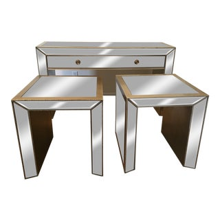 Z Gallerie Mirrored Side Table Set - Set of 3
