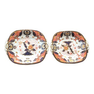 Antique 19th Century Square Davenport Staffordshire Imari Plates- a Pair For Sale