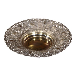 19th Century French Silver Plated Brass Repousse Bread Dish Basket For Sale