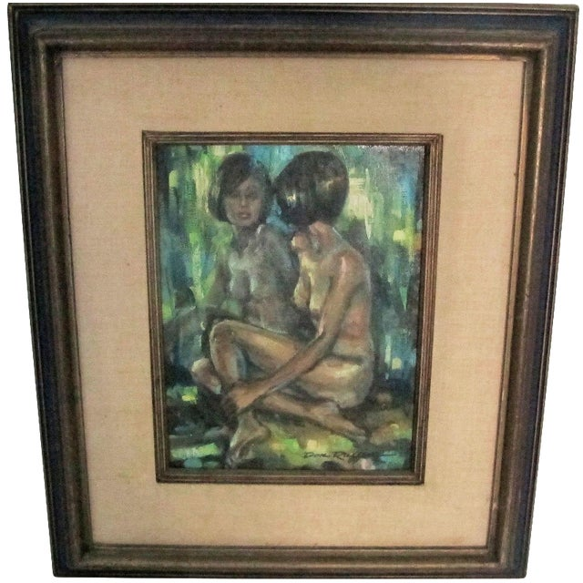 "1960s ""Reflections of a Nude"" Oil Painting - Image 1 of 4"