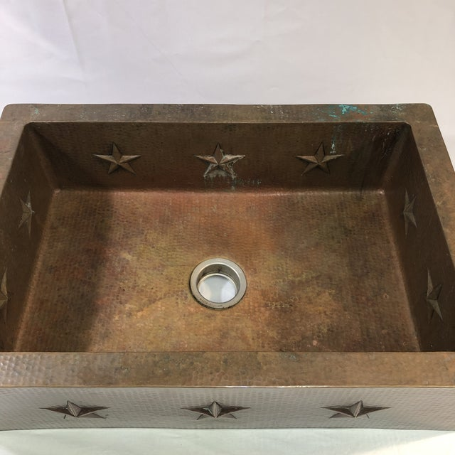 """American Hammered Copper 33"""" Star Apron Sink For Sale - Image 3 of 13"""