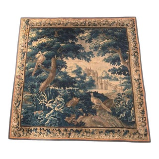 Large 18th Century French Aubusson Verdure Tapestry With Birds and Castle For Sale