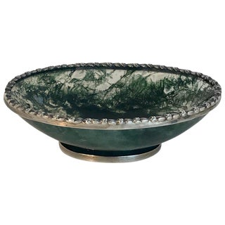 Exquisite Moss Agate Silver Mounted Pedestal Bowl For Sale