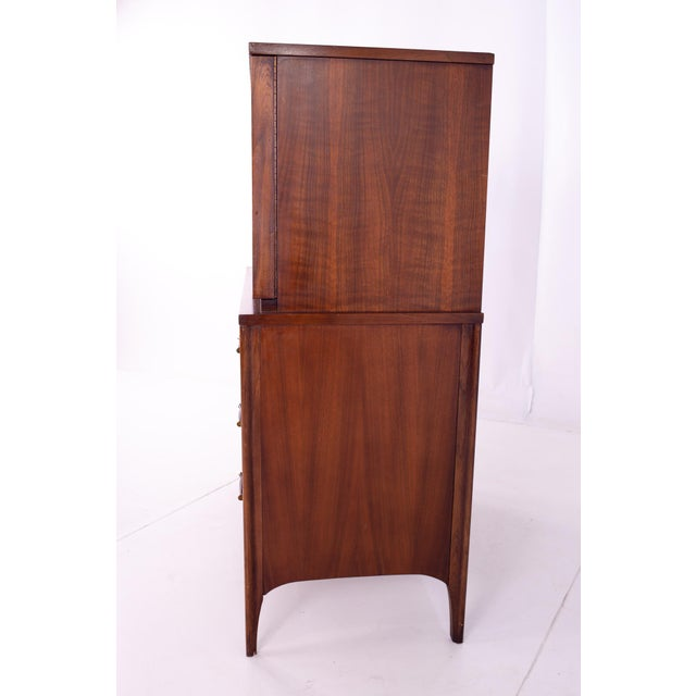 Kent Coffey Mid Century Kent Coffey Perspecta Walnut and Rosewood Armoire Gentleman's Chest Highboy Dresser For Sale - Image 4 of 13