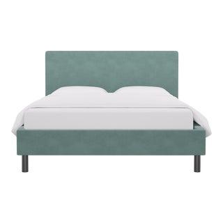 Queen Tailored Platform Bed in Aqua Velvet For Sale