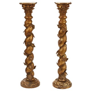 Pair of Italian Baroque Style Giltwood Column Pedestals For Sale