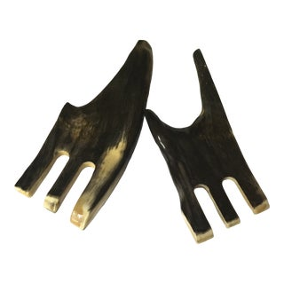 20th Century Folk Art Horn Carl Arböck Salad Tongs - a Pair For Sale