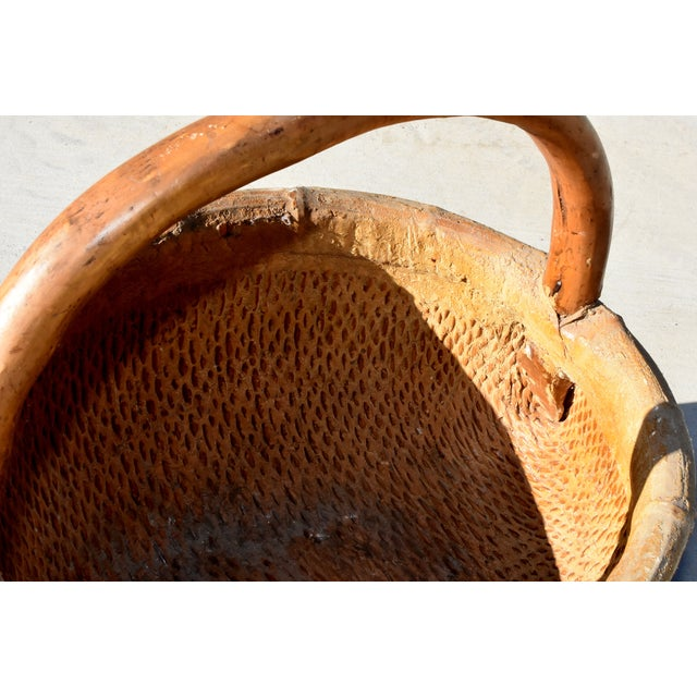 Chinese Country Willow Basket With Tree Branch Handle For Sale - Image 4 of 13
