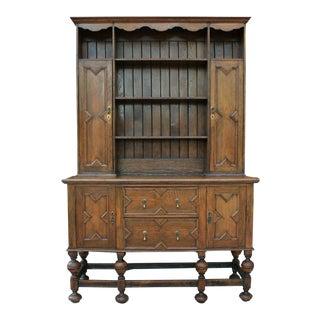 Antique English Oak Large Jacobean Tudor Cabinet Sideboard Plate Dresser Buffet 19th C For Sale