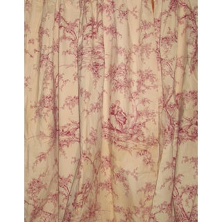 Vintage French Red and White Toile Curtains, Panels and Fabric For Sale