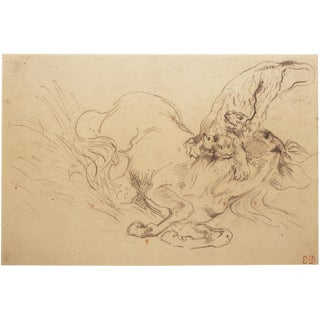 "1950s Eugene Delacroix, ""Tiger Mauling a Wild Horse"" Hungarian Photogravure For Sale"