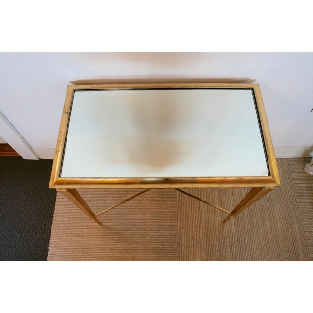 Gold Leaf Mirrored Side Table For Sale - Image 4 of 7