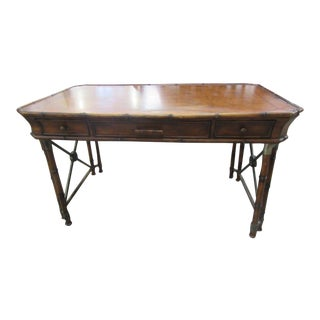 1970s Faux Bamboo Writing Desk For Sale
