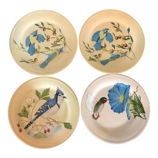 1940s Vintage Hand-Painted Decorative Plates - Set of 4 For Sale
