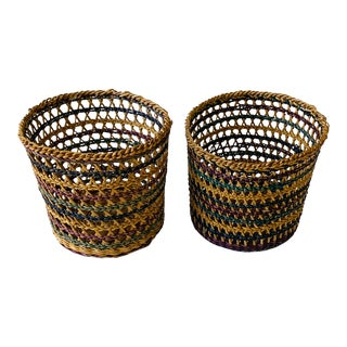 Small Hand Woven Votive Baskets - A Pair For Sale