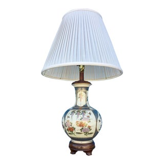 Vintage Hand Painted Japanese Vase Lamp For Sale