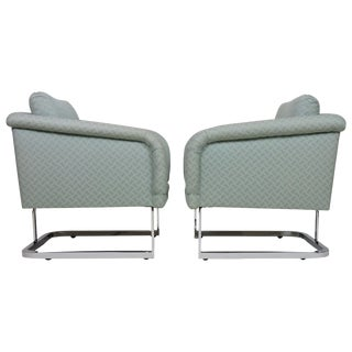 Pair of Thayer Coggin Chrome 1980s Lounge Chairs For Sale