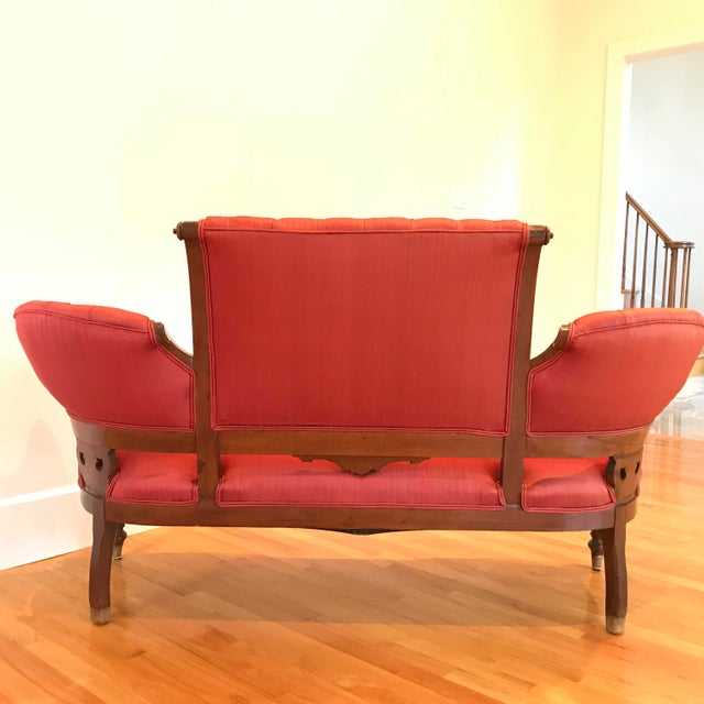 1900s Antique Mahogany Silk Settee For Sale - Image 4 of 7