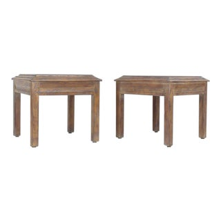 20th Century Shaker Oak Cerused Pickled White Wash Square End Tables - a Pair For Sale
