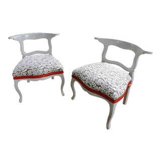 Taupe Watery Print Accent Chairs - A Pair For Sale