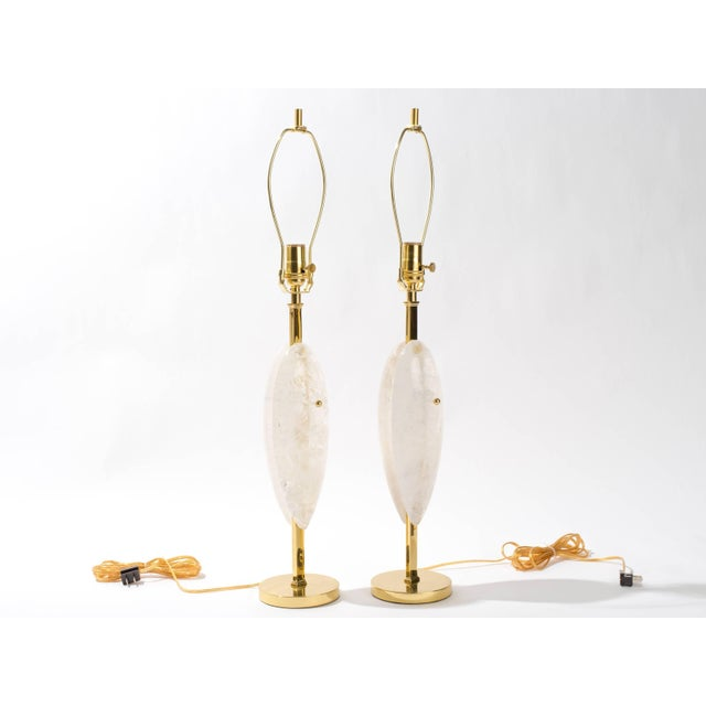 Contemporary Pair of Rock Crystal Quartz Lamps, Eon Collection For Sale - Image 3 of 5
